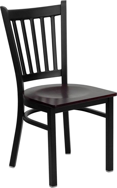 Flash Furniture HERCULES Series Black Vertical Back Metal Restaurant Chair with Mahogany Wood Seat [XU-DG-6Q2B-VRT-MAHW-GG]