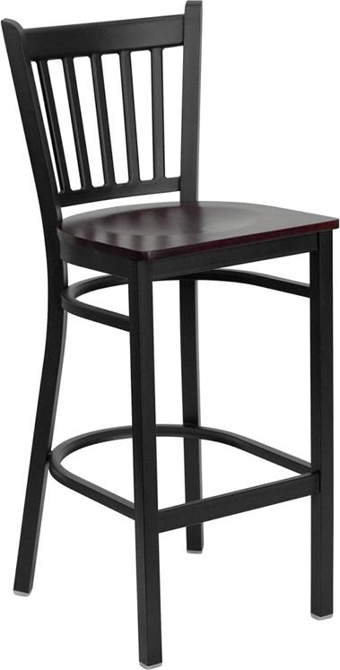 Flash Furniture HERCULES Series Black Vertical Back Metal Restaurant Bar Stool with Mahogany Wood Seat [XU-DG-6R6B-VRT-BAR-MAHW-GG]