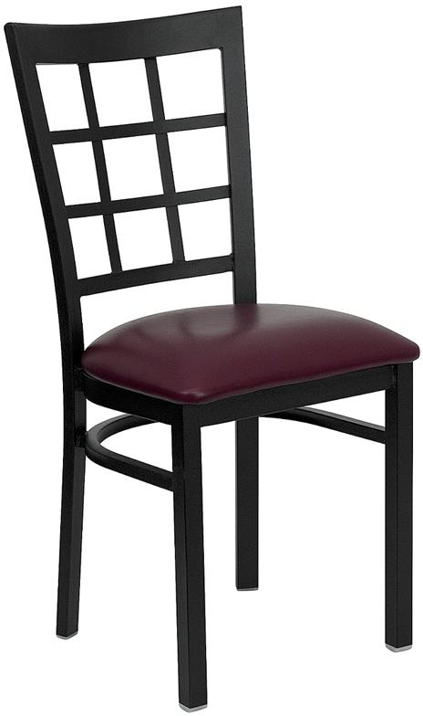 Flash Furniture HERCULES Series Black Window Back Metal Restaurant Chair with Burgundy Vinyl Seat [XU-DG6Q3BWIN-BURV-GG]