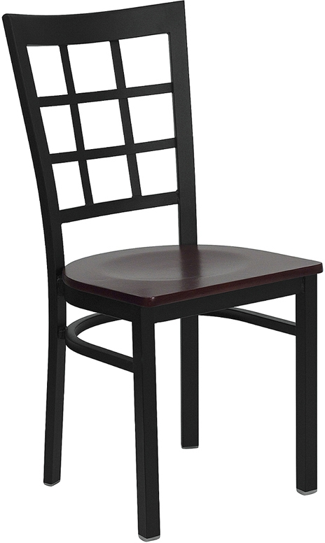 Flash Furniture HERCULES Series Black Window Back Metal Restaurant Chair with Mahogany Wood Seat [XU-DG6Q3BWIN-MAHW-GG]