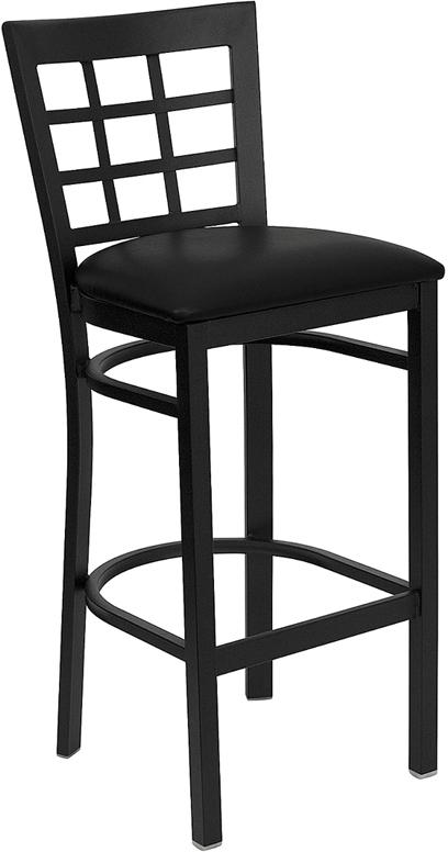 Flash Furniture HERCULES Series Black Window Back Metal Restaurant Bar Stool with Black Vinyl Seat [XU-DG6R7BWIN-BAR-BLKV-GG]
