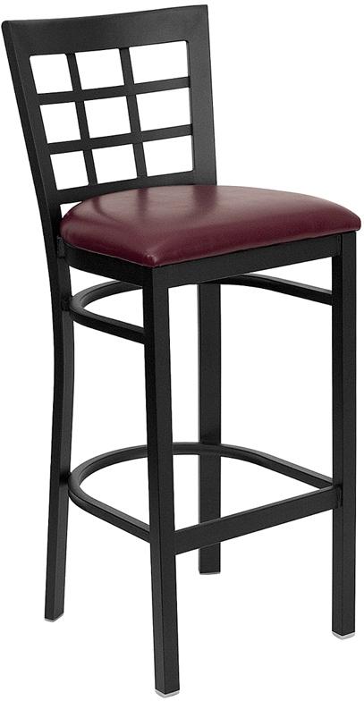 Flash Furniture HERCULES Series Black Window Back Metal Restaurant Bar Stool with Burgundy Vinyl Seat [XU-DG6R7BWIN-BAR-BURV-GG]