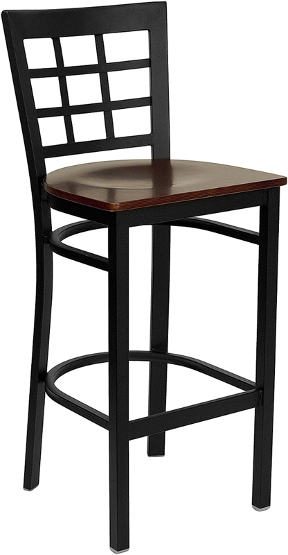 Flash Furniture HERCULES Series Black Window Back Metal Restaurant Bar Stool with Mahogany Wood Seat [XU-DG6R7BWIN-BAR-MAHW-GG]