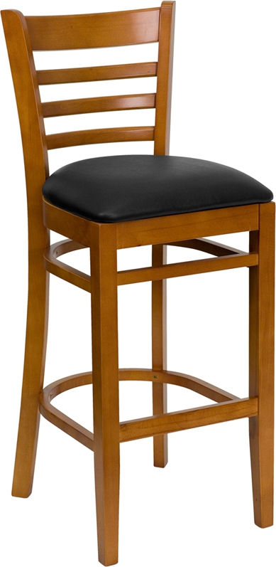 Flash Furniture HERCULES Series Cherry Finished Ladder Back Wooden Restaurant Bar Stool with Black Vinyl Seat [XU-DGW0005BARLAD-CHY-BLKV-GG]