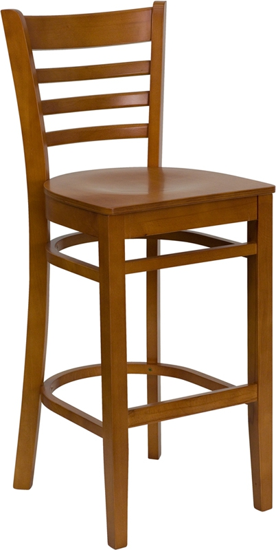Flash Furniture HERCULES Series Cherry Finished Ladder Back Wooden Restaurant Bar Stool [XU-DGW0005BARLAD-CHY-GG]