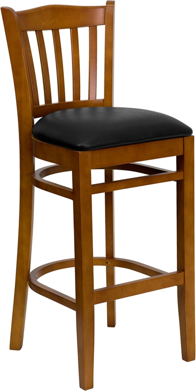Flash Furniture HERCULES Series Cherry Finished Vertical Slat Back Wooden Restaurant Bar Stool with Black Vinyl Seat [XU-DGW0008BARVRT-CHY-BLKV-GG]