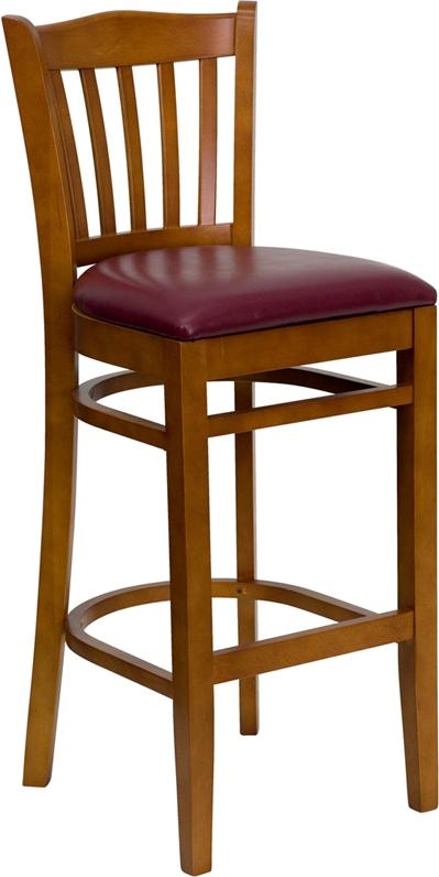 Flash Furniture HERCULES Series Cherry Finished Vertical Slat Back Wooden Restaurant Bar Stool with Burgundy Vinyl Seat [XU-DGW0008BARVRT-CHY-BURV-GG]
