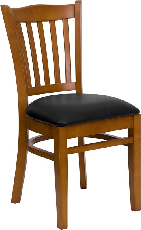 Flash Furniture HERCULES Series Cherry Finished Vertical Slat Back Wooden Restaurant Chair with Black Vinyl Seat [XU-DGW0008VRT-CHY-BLKV-GG]
