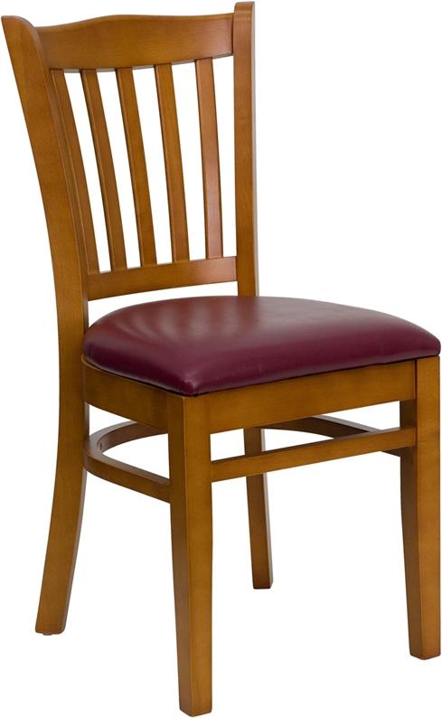 Flash Furniture HERCULES Series Cherry Finished Vertical Slat Back Wooden Restaurant Chair with Burgundy Vinyl Seat [XU-DGW0008VRT-CHY-BURV-GG]
