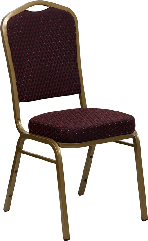 Flash Furniture HERCULES Series Crown Back Stacking Banquet Chair with Burgundy Patterned Fabric and 2.5'' Thick Seat - Gold Frame [FD-C01-ALLGOLD-EFE1679-GG]