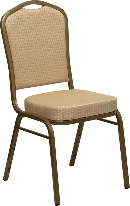 Flash Furniture HERCULES Series Crown Back Stacking Banquet Chair with Beige Patterned Fabric and 2.5'' Thick Seat - Gold Frame [FD-C01-ALLGOLD-H20124E-GG]