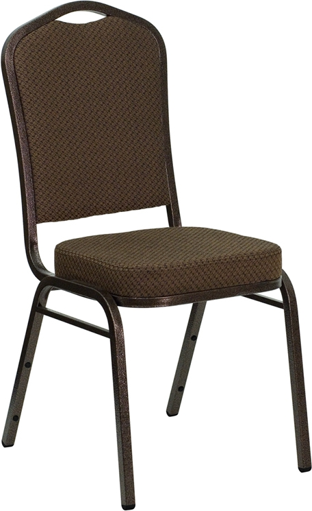 Flash Furniture HERCULES Series Crown Back Stacking Banquet Chair with Brown Patterned Fabric and 2.5'' Thick Seat - Copper Vein Frame [FD-C01-COPPER-008-T-02-GG]