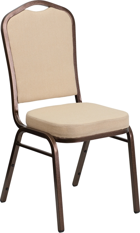 Flash Furniture HERCULES Series Crown Back Stacking Banquet Chair with Beige Fabric and 2.5'' Thick Seat - Copper Vein Frame [FD-C01-COPPER-BGE-GG]