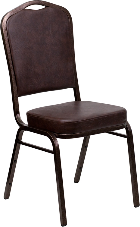 Flash Furniture HERCULES Series Crown Back Stacking Banquet Chair with Brown Vinyl and 2.5'' Thick Seat - Copper Vein Frame [FD-C01-COPPER-BRN-VY-GG]