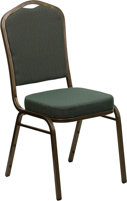 Flash Furniture HERCULES Series Crown Back Stacking Banquet Chair with Green Patterned Fabric and 2.5'' Thick Seat - Gold Vein Frame [FD-C01-GOLDVEIN-0640-GG]