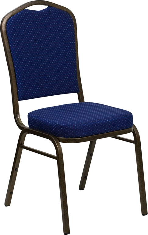 Flash Furniture HERCULES Series Crown Back Stacking Banquet Chair with Navy Blue Patterned Fabric and 2.5'' Thick Seat - Gold Vein Frame [FD-C01-GOLDVEIN-208-GG]
