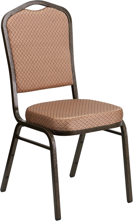Flash Furniture HERCULES Series Crown Back Stacking Banquet Chair with Gold Diamond Patterned Fabric and 2.5'' Thick Seat - Gold Vein Frame [FD-C01-GOLDVEIN-GO-GG]