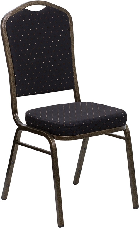 Flash Furniture HERCULES Series Crown Back Stacking Banquet Chair with Black Patterned Fabric and 2.5'' Thick Seat - Gold Vein Frame [FD-C01-GOLDVEIN-S0806-GG]