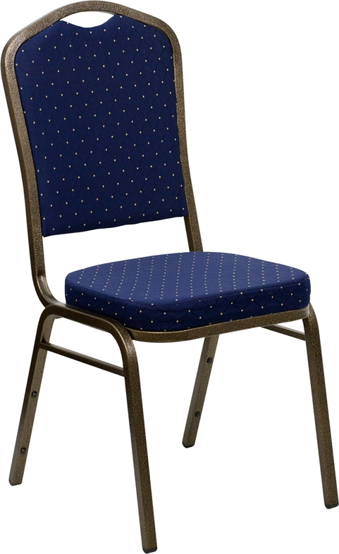 Flash Furniture HERCULES Series Crown Back Stacking Banquet Chair with Navy Blue Patterned Fabric and 2.5'' Thick Seat - Gold Vein Frame [FD-C01-GOLDVEIN-S0810-GG]