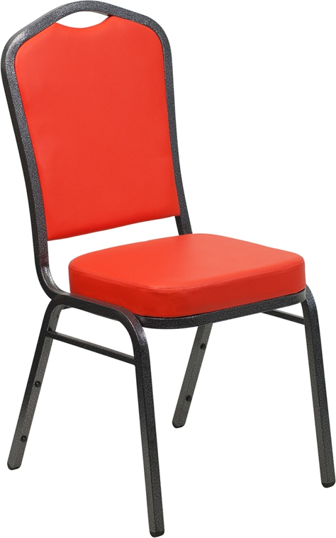 Flash Furniture HERCULES Series Crown Back Stacking Banquet Chair with Red Vinyl and 2.5'' Thick Seat - Silver Vein Frame [FD-C01-SILVERVEIN-CRIM-VY-GG]