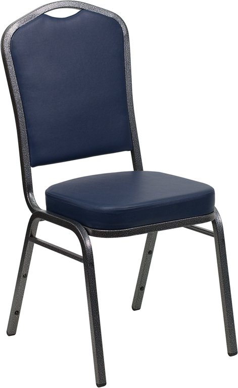 Flash Furniture HERCULES Series Crown Back Stacking Banquet Chair with Navy Vinyl and 2.5'' Thick Seat - Silver Vein Frame [FD-C01-SILVERVEIN-NY-VY-GG]