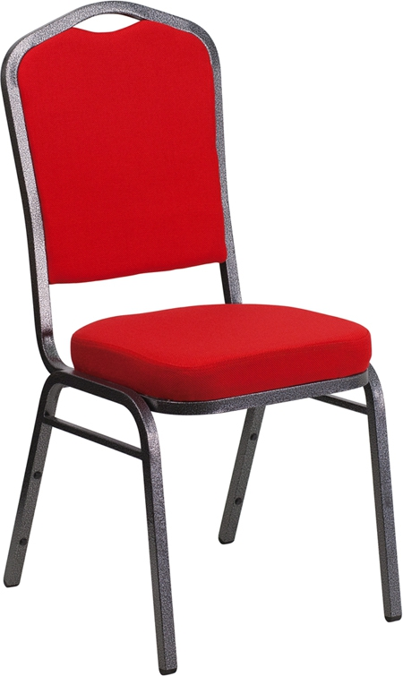 Flash Furniture HERCULES Series Crown Back Stacking Banquet Chair with Red Fabric and 2.5'' Thick Seat - Silver Vein Frame [FD-C01-SILVERVEIN-RED-GG]