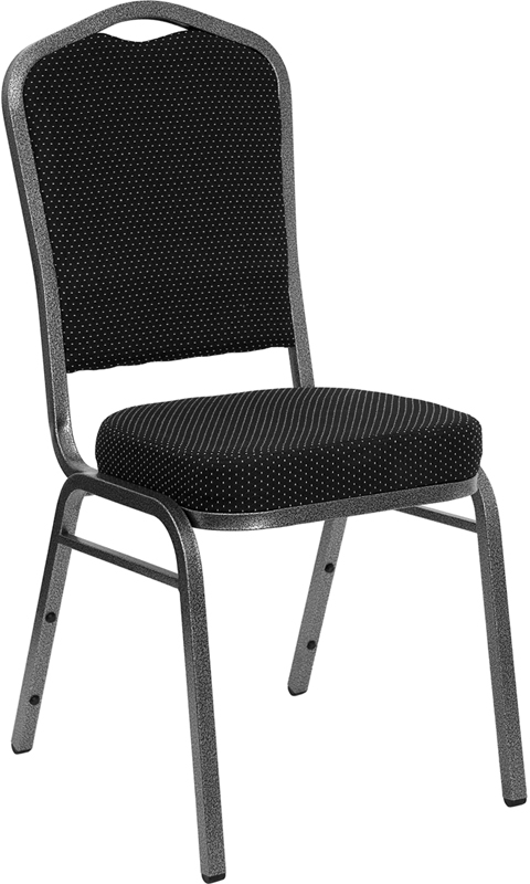 Flash Furniture HERCULES Series Crown Back Stacking Banquet Chair with Black Patterned Fabric and 2.5'' Thick Seat - Silver Vein Frame [FD-C01-SILVERVEIN-S076-GG]