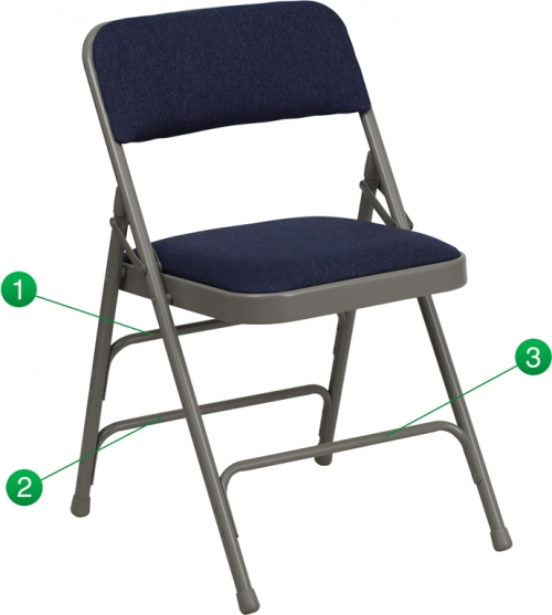 Flash Furniture HERCULES Series Curved Triple Braced & Quad Hinged Navy Fabric Upholstered Metal Folding Chair [HA-MC309AF-NVY-GG]