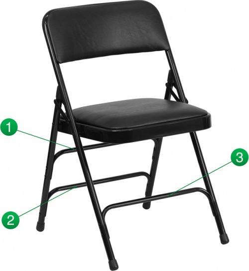 Flash Furniture HERCULES Series Curved Triple Braced & Quad Hinged Black Vinyl Upholstered Metal Folding Chair [HA-MC309AV-BK-GG]