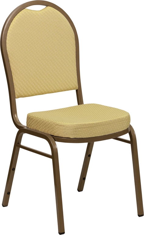 Flash Furniture HERCULES Series Dome Back Stacking Banquet Chair with Beige Patterned Fabric and 2.5'' Thick Seat - Gold Frame [FD-C03-ALLGOLD-H20377A-GG]