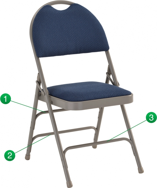 Flash Furniture HERCULES Series Extra Large Ultra-Premium Triple Braced Navy Fabric Metal Folding Chair with Easy-Carry Handle [HA-MC705AF-3-NVY-GG]
