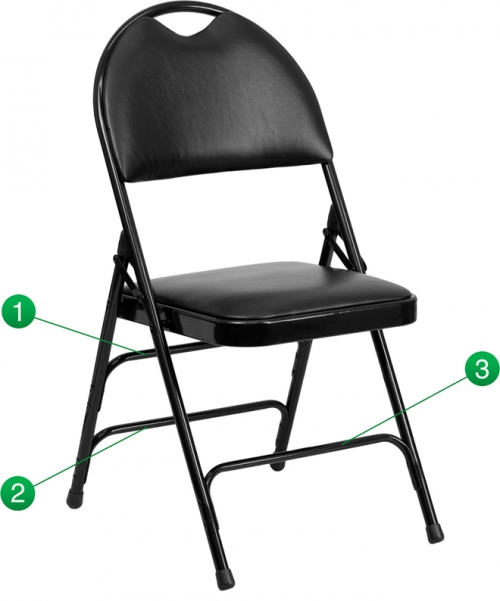 Flash Furniture HERCULES Series Extra Large Ultra-Premium Triple Braced Black Vinyl Metal Folding Chair with Easy-Carry Handle [HA-MC705AV-3-BK-GG]