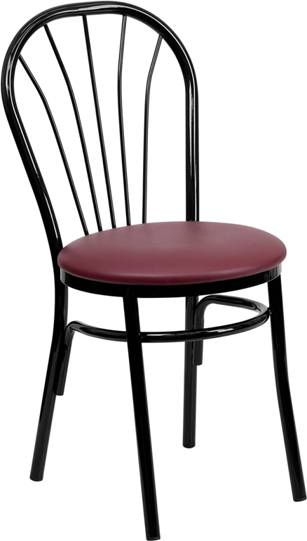 Flash Furniture HERCULES Series Fan Back Metal Chair - Burgundy Vinyl Seat [XU-698B-BGV-GG]