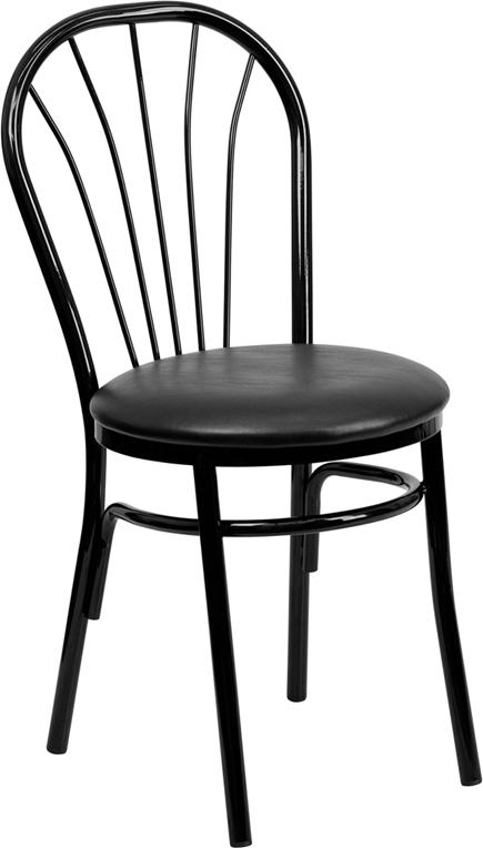 Flash Furniture HERCULES Series Fan Back Metal Chair - Black Vinyl Seat [XU-698B-BLKV-GG]