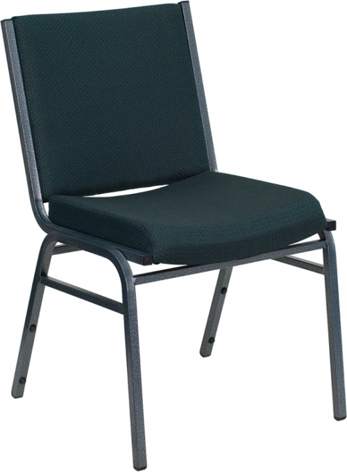 Flash Furniture HERCULES Series Heavy Duty, 3'' Thickly Padded, Green Patterned Upholstered Stack Chair [XU-60153-GN-GG]