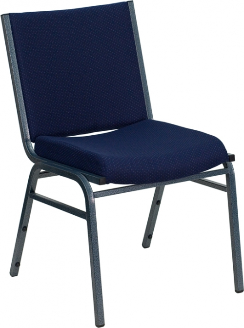 Flash Furniture HERCULES Series Heavy Duty, 3'' Thickly Padded, Navy Patterned Upholstered Stack Chair [XU-60153-NVY-GG]