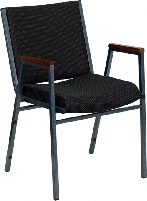 Flash Furniture HERCULES Series Heavy Duty, 3'' Thickly Padded, Black Patterned Upholstered Stack Chair with Arms [XU-60154-BK-GG]