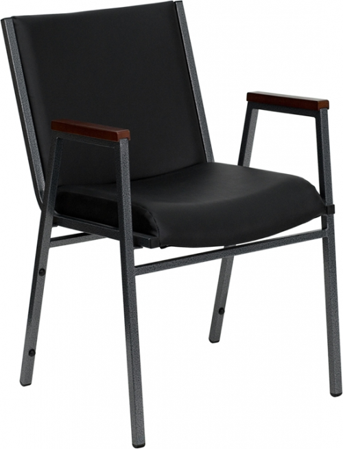 Flash Furniture HERCULES Series Heavy Duty, 3'' Thickly Padded, Black Vinyl Upholstered Stack Chair with Arms [XU-60154-BK-VYL-GG]