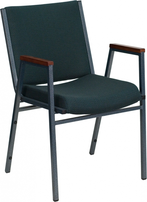Flash Furniture HERCULES Series Heavy Duty, 3'' Thickly Padded, Green Patterned Upholstered Stack Chair with Arms [XU-60154-GN-GG]