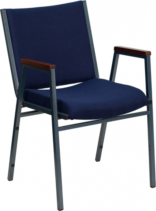 Flash Furniture HERCULES Series Heavy Duty, 3'' Thickly Padded, Navy Patterned Upholstered Stack Chair with Arms [XU-60154-NVY-GG]