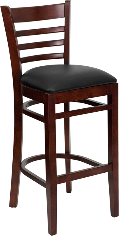 Flash Furniture HERCULES Series Mahogany Finished Ladder Back Wooden Restaurant Bar Stool with Black Vinyl Seat [XU-DGW0005BARLAD-MAH-BLKV-GG]