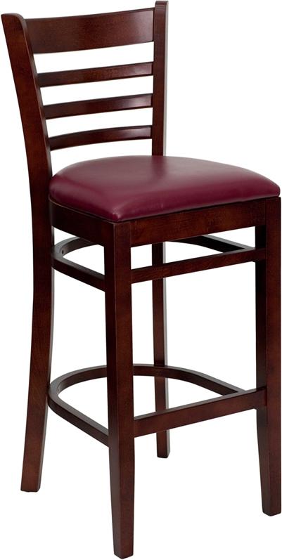 Flash Furniture HERCULES Series Mahogany Finished Ladder Back Wooden Restaurant Bar Stool with Burgundy Vinyl Seat [XU-DGW0005BARLAD-MAH-BURV-GG]