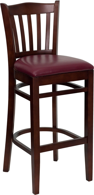 Flash Furniture HERCULES Series Mahogany Finished Vertical Slat Back Wooden Restaurant Bar Stool with Burgundy Vinyl Seat [XU-DGW0008BARVRT-MAH-BURV-GG]