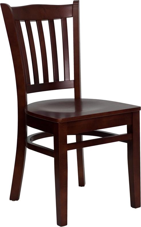 Flash Furniture HERCULES Series Mahogany Finished Vertical Slat Back Wooden Restaurant Chair [XU-DGW0008VRT-MAH-GG]
