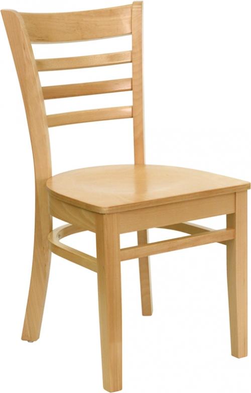 Flash Furniture HERCULES Series Natural Wood Finished Ladder Back Wooden Restaurant Chair [XU-DGW0005LAD-NAT-GG]