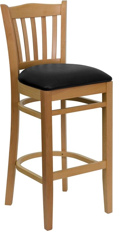 Flash Furniture HERCULES Series Natural Wood Finished Vertical Slat Back Wooden Restaurant Bar Stool with Black Vinyl Seat [XU-DGW0008BARVRT-NAT-BLKV-GG]