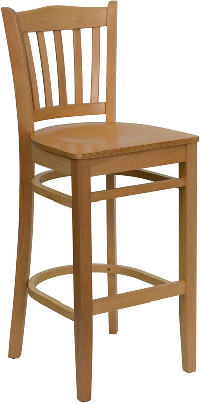 Flash Furniture HERCULES Series Natural Wood Finished Vertical Slat Back Wooden Restaurant Bar Stool [XU-DGW0008BARVRT-NAT-GG]