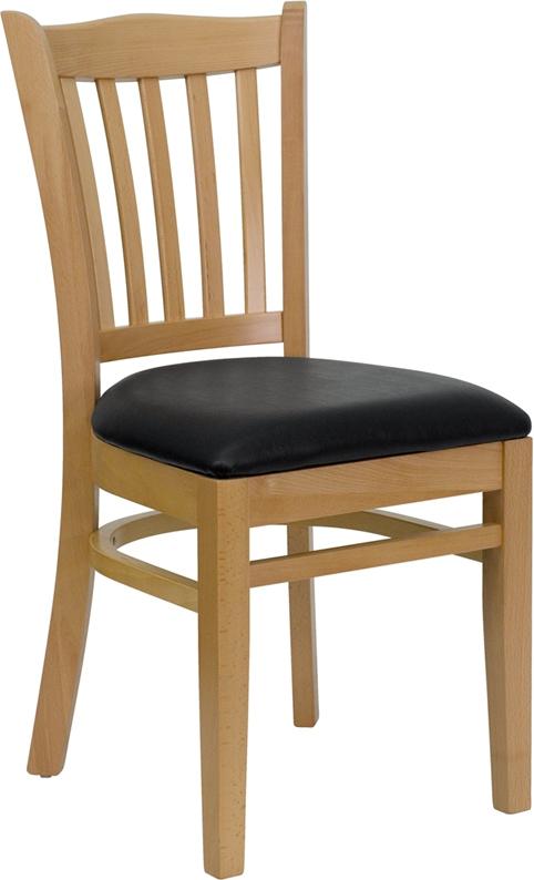 Flash Furniture HERCULES Series Natural Wood Finished Vertical Slat Back Wooden Restaurant Chair with Black Vinyl Seat [XU-DGW0008VRT-NAT-BLKV-GG]