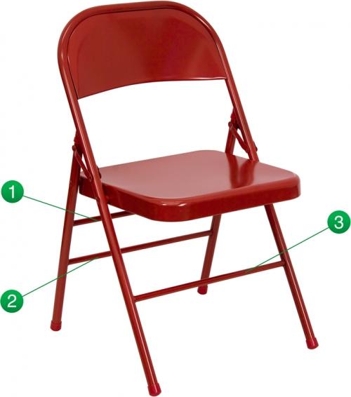 Flash Furniture HERCULES Series Triple Braced & Quad Hinged Red Metal Folding Chair [HF3-MC-309AS-RED-GG]