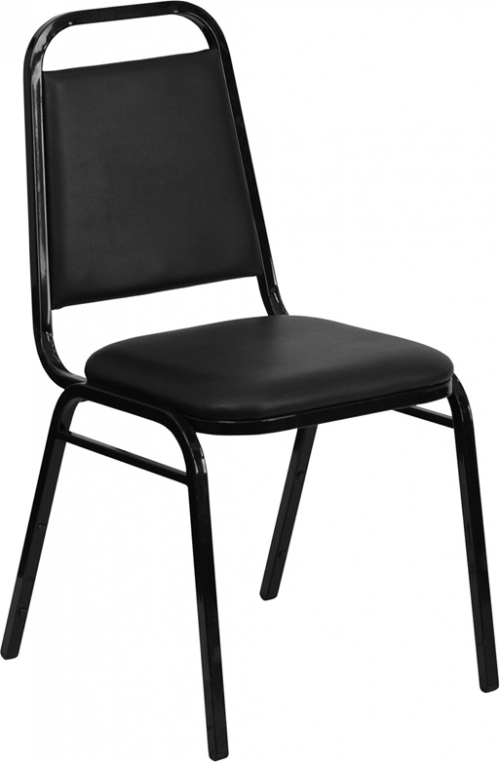 Flash Furniture HERCULES Series Upholstered Stack Chair with Trapezoidal Back and a 1.5'' Padded Foam Seat - Black Vinyl with Black Frame [FD-BHF-2-GG]